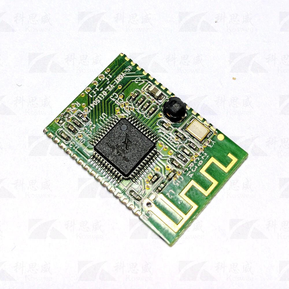 简介 KS-V6BT模块 是一款带可带9个按键,带遥控,带两个LED灯指示。含BT、AUX,为配便携式小音箱,2.0或2.1音箱的解码盒(BT支持3.0应用,并兼容2.0及以下版本),可以调节音量大小。
